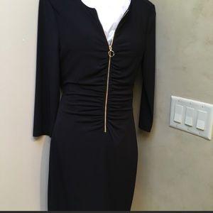 Jessica Simpson sexy black dress with gold zipper